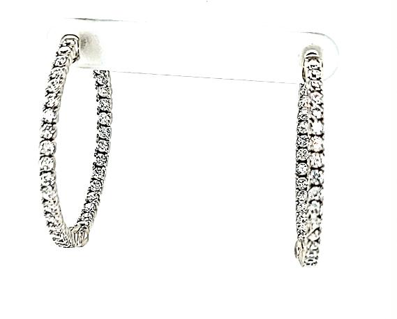 """.925 CZ Hoop Earrings 1.5"""""""