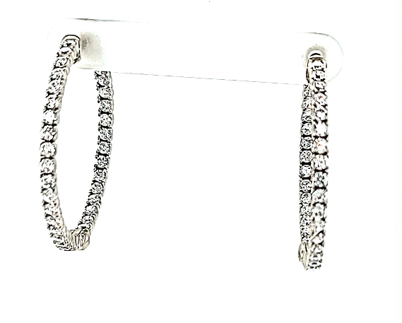 ".925 CZ 1 1/4"" Hoop Earrings"