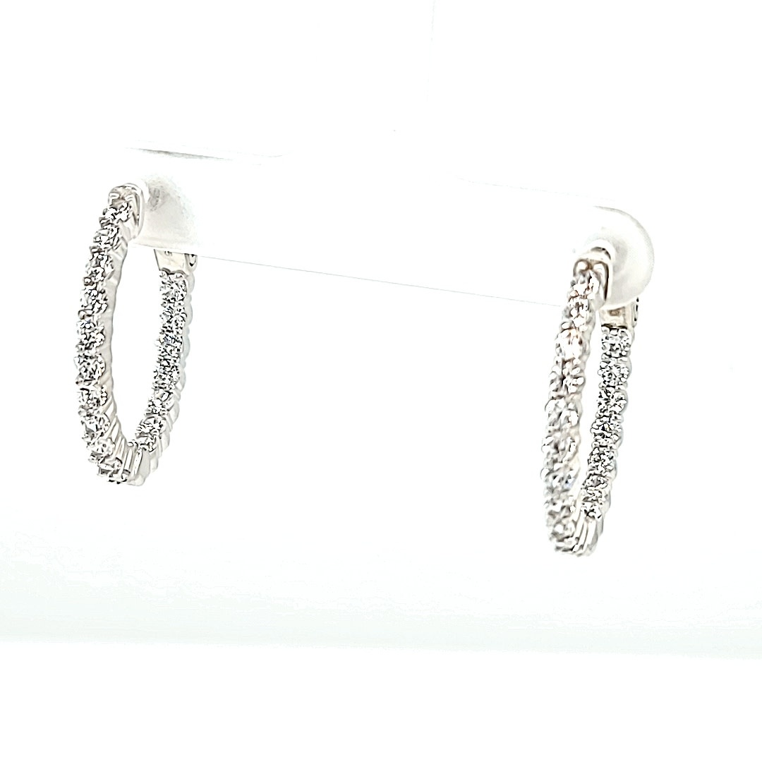 .925 CZ Hoop Earrings 3/4""