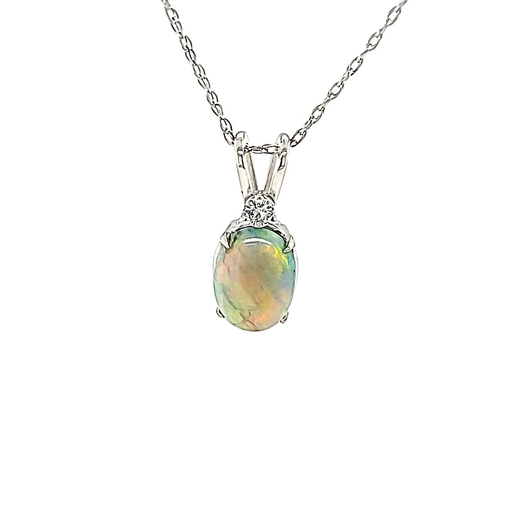 14KW Opal Oval Pendant with Diamond Accent