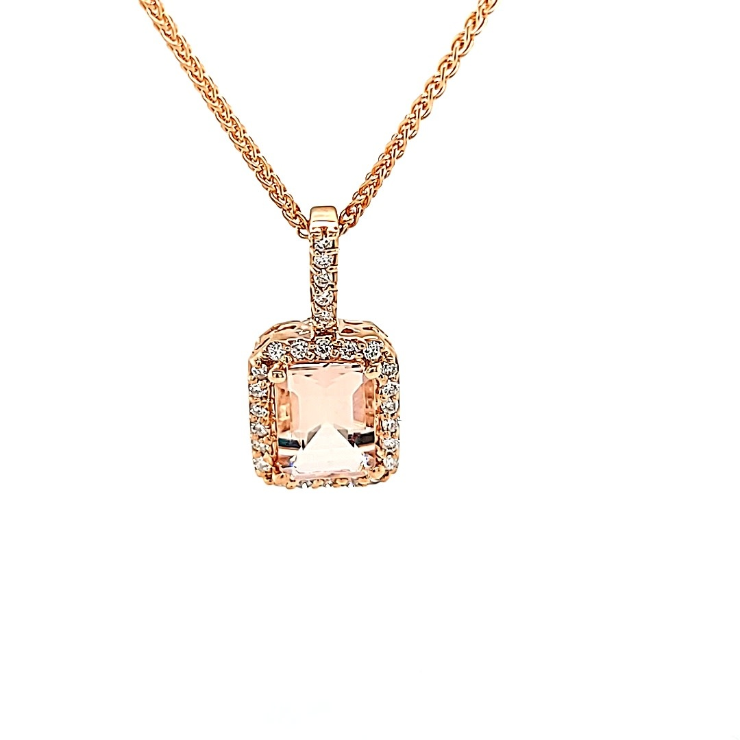 14KR Morganite 1.33CT Halo Pendant