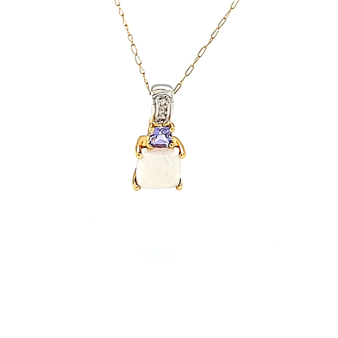 14K Two Tone Opal and Tanzanite Pendant with Diamond Accents