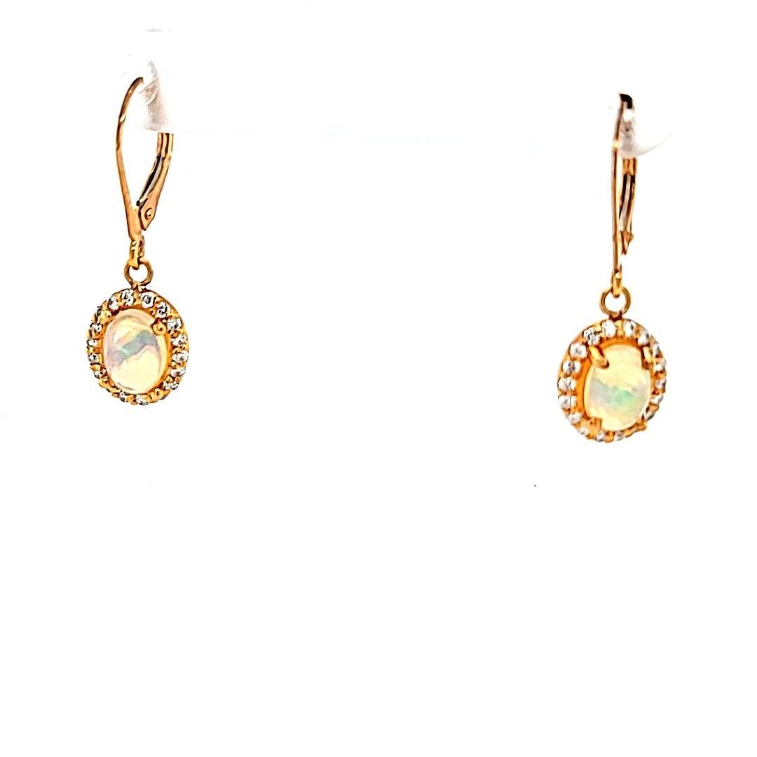 14KR Opal and Diamond Halo Dangle Earrings