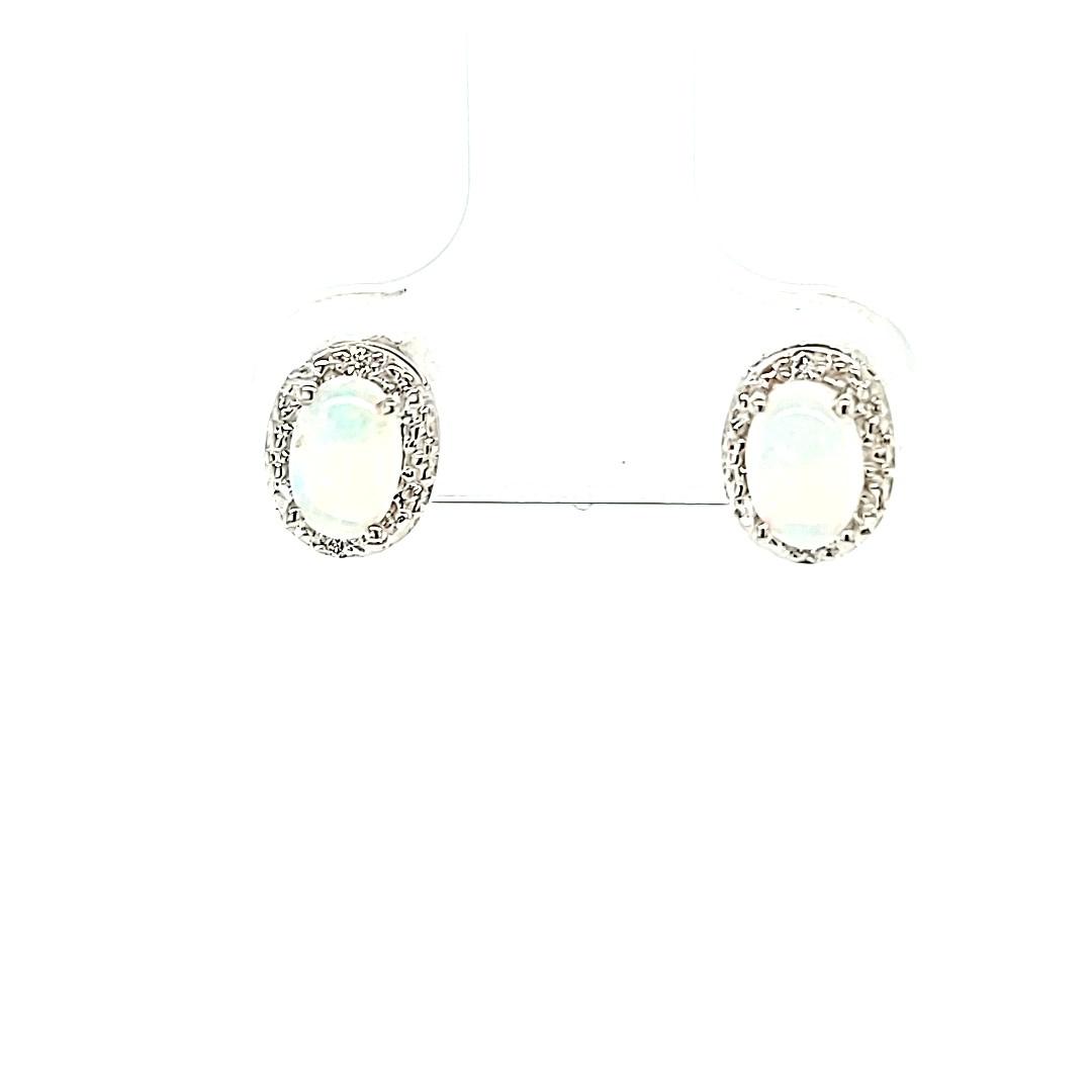 14KW Opal Halo Stud Earrings