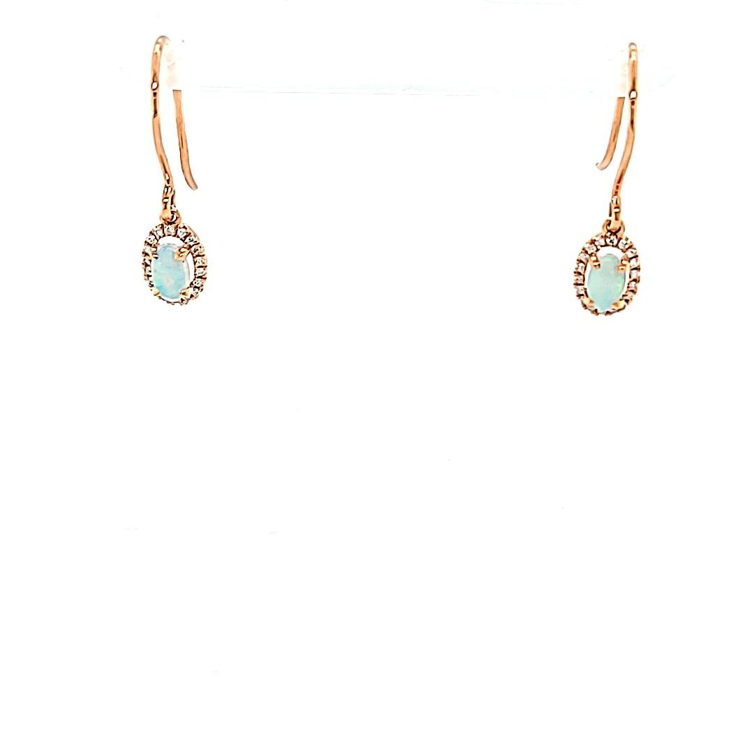 14KR Opal Halo Dangle Earrings