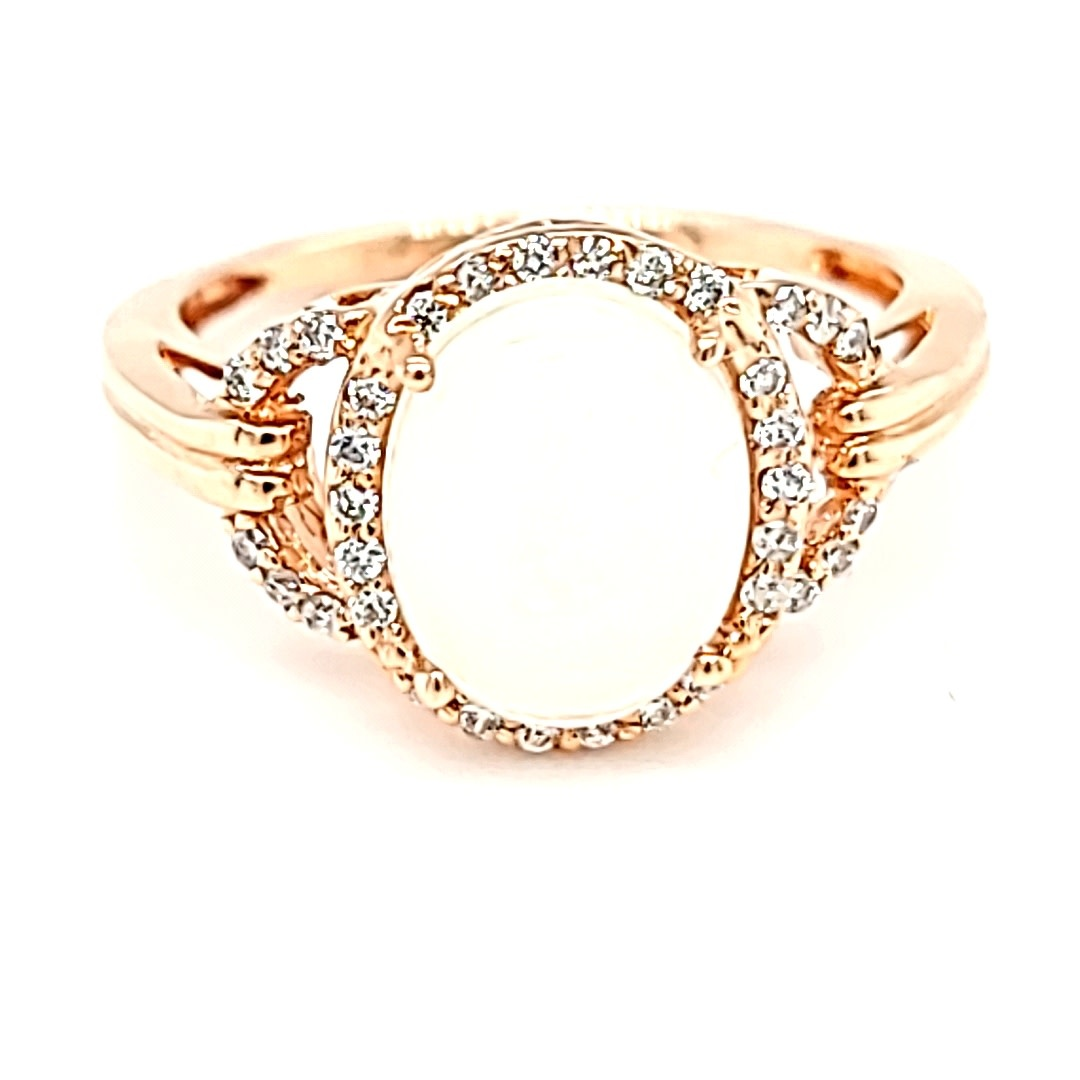 14KR 1.39CT Ethipoian Opal Halo Ring With  Diamond Accents
