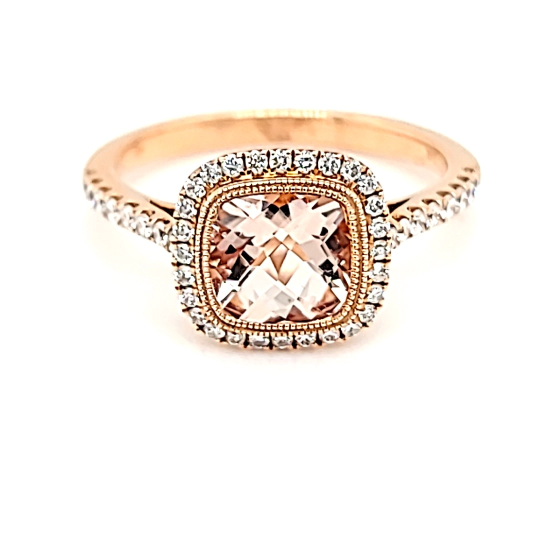 14KR Morganite and Diamond Halo Ring