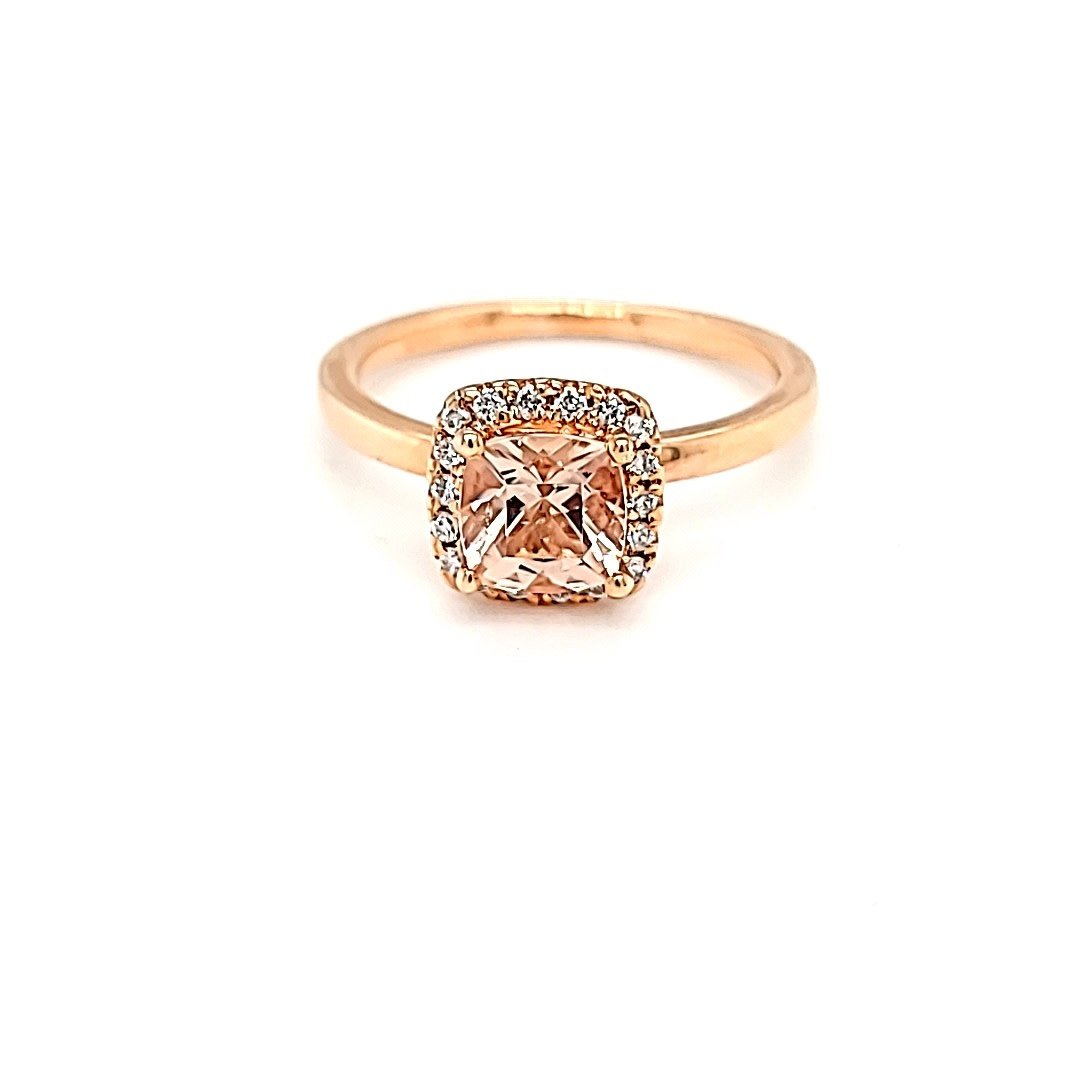 14KR  .86CT Morganite Halo Ring .16DTW