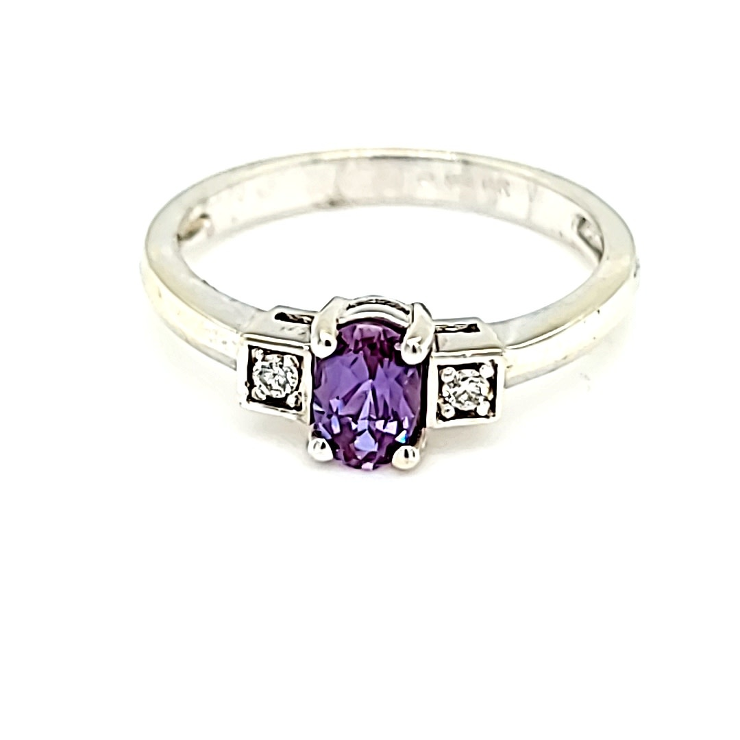 14KW Chatham  Alexandrite and Diamond Ring