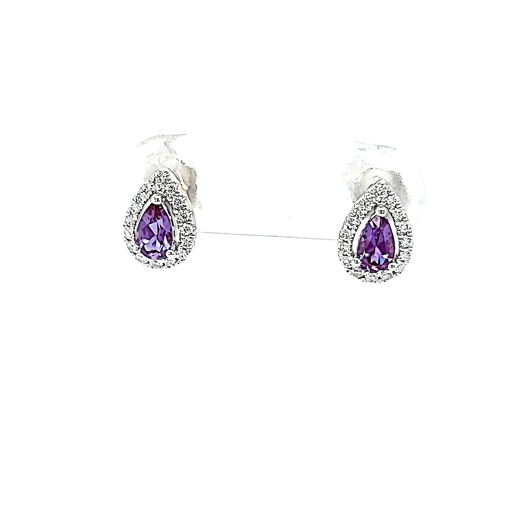 14KW Chatham Pear Alexandrite Stud Earring .15DTW