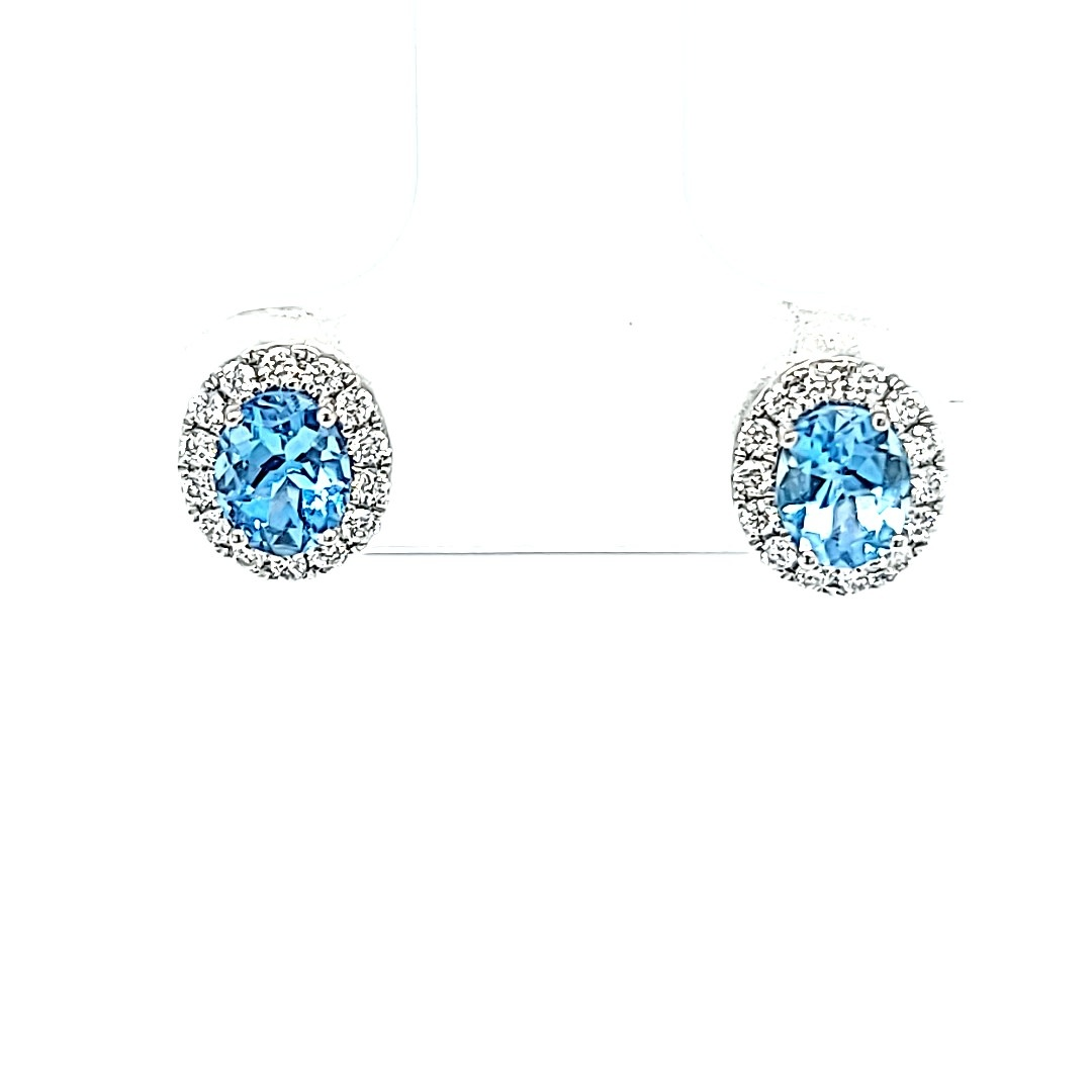14K Halo Aqua Stud Earrings