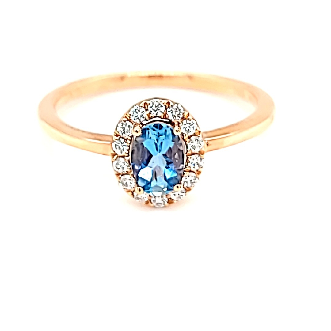 14KR Oval Halo Aquamarine Ring