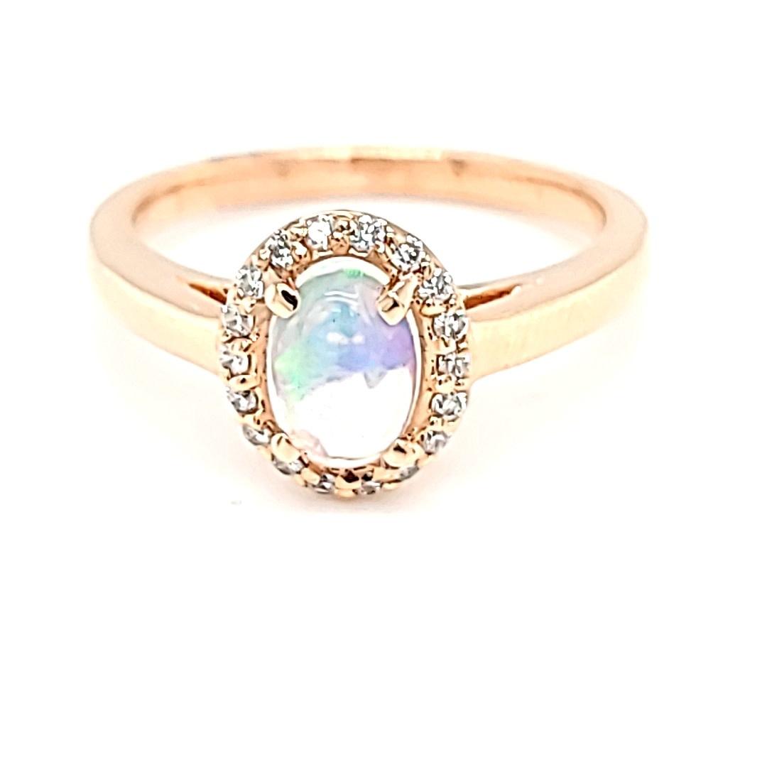 14KR Ethiopian Opal Halo Ring