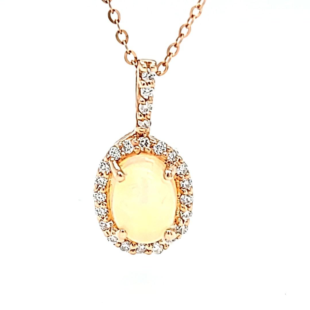 14KR 8X6 Ethiopian Opal Halo Pendant