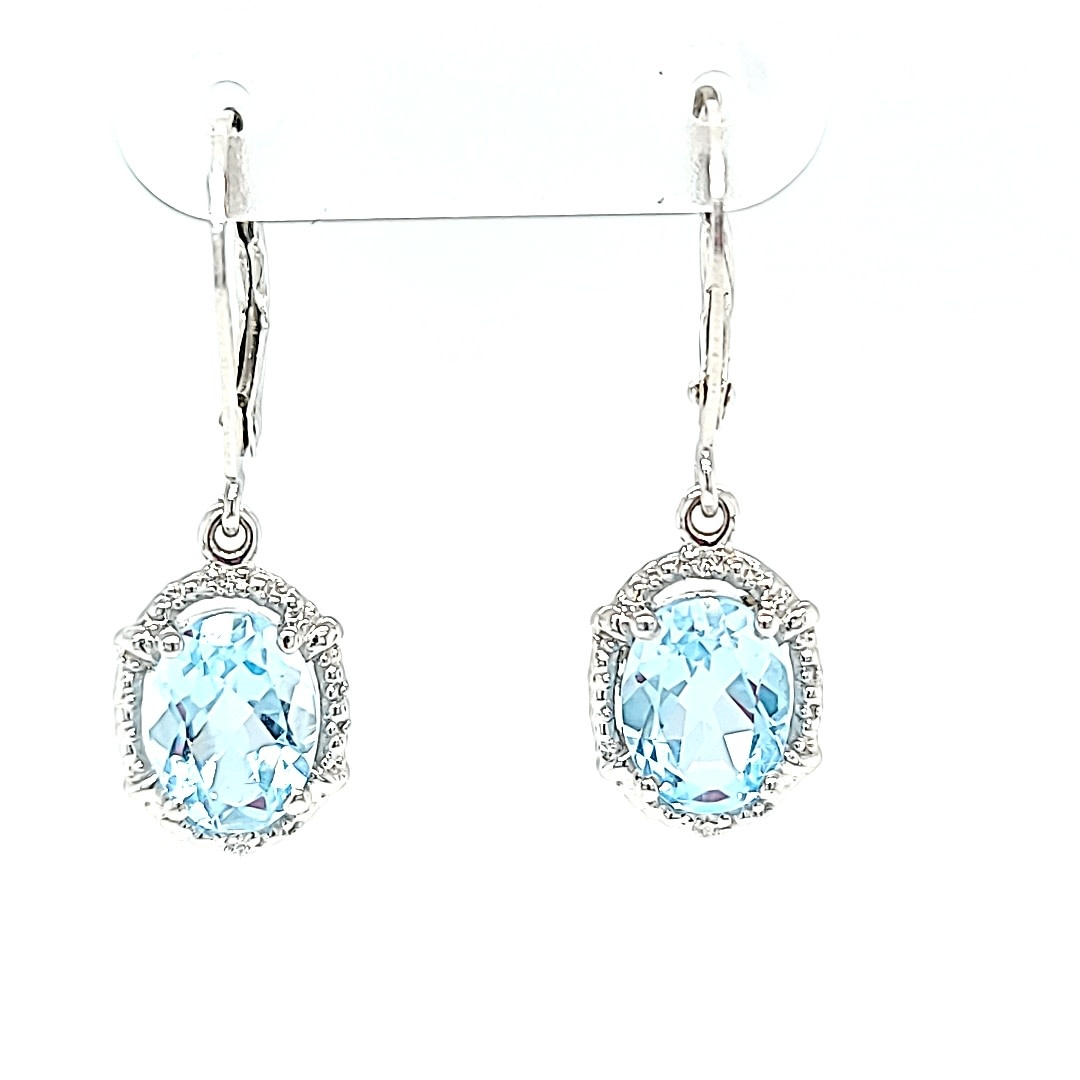 14KW Sky Blue Topaz Dangle Halo Earrings