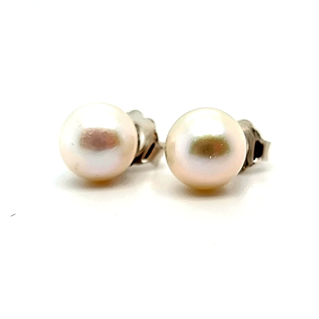 14KW 7.5MM Freshwater Pearl Stud Earrings