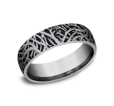 Benchmark 6.5mm Tantalum enchanted forest wedding band