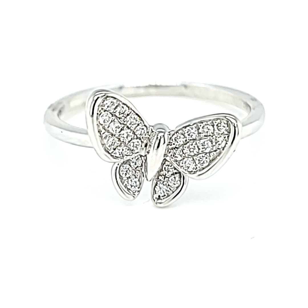 14KW 0.15TW Diamond Butterfly Ring