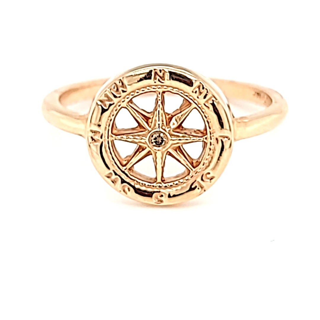 14KR Compass Ring With a Chocolate Diamond Center
