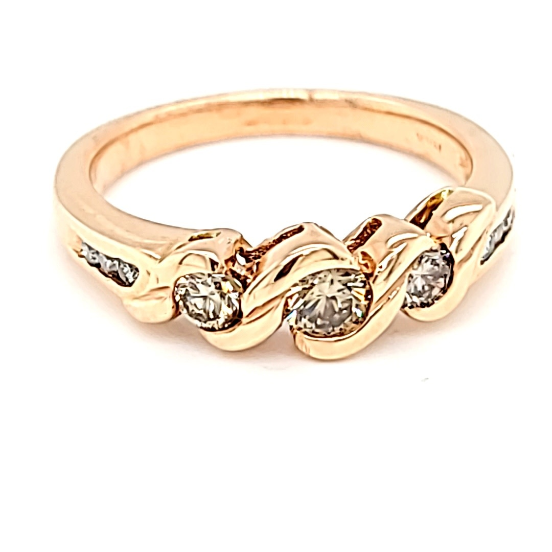 14KR Champagne Diamond Fashion Ring 0.55Cttw