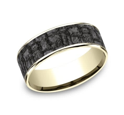 Benchmark 7.5mm Tantalum with gold edges wedding band