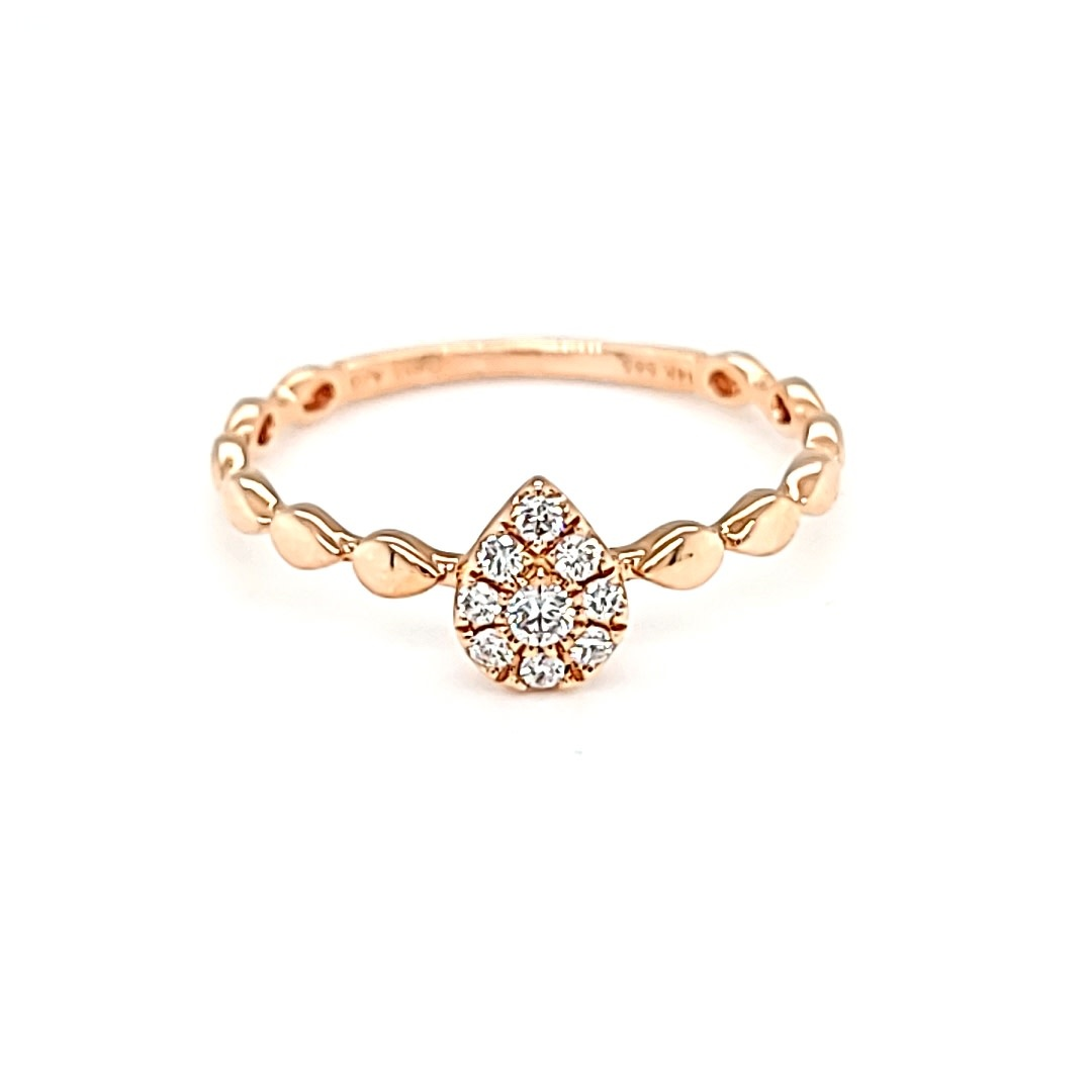 14KR Pear Cluster Fashion  Diamond Ring