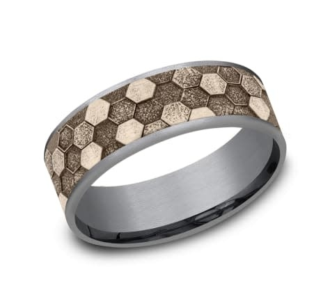 Benchmark 7.5mm Tantalum honeycomb wedding band