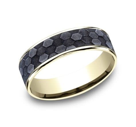 Benchmark 6.5mm Tantalum honeycomb wedding band with yellow gold edges