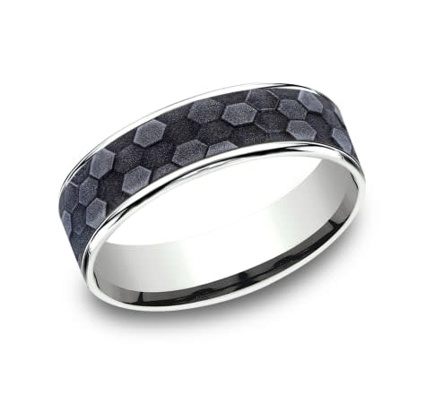 Benchmark 6.5mm Tantalum honeycomb wedding band with white gold