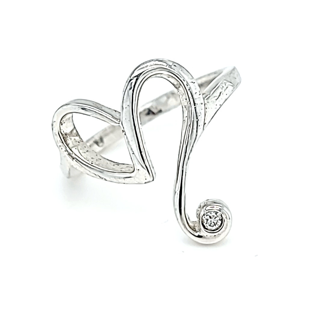 .925 0.03CT Diamond Heart Ring