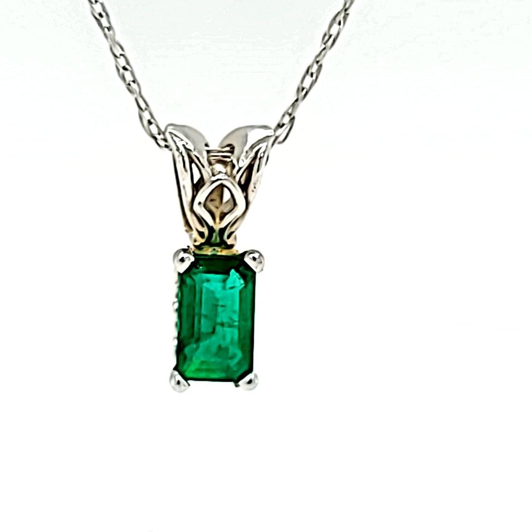 14KW 0.18CT Emerald Cut Emerald Pendant
