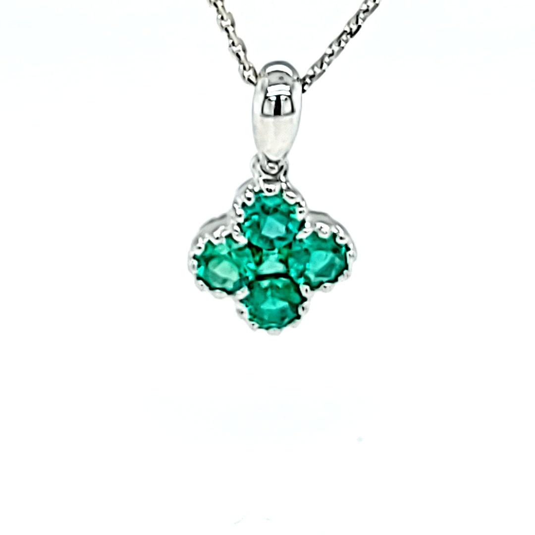 18KW Emerald Cluster Pendant