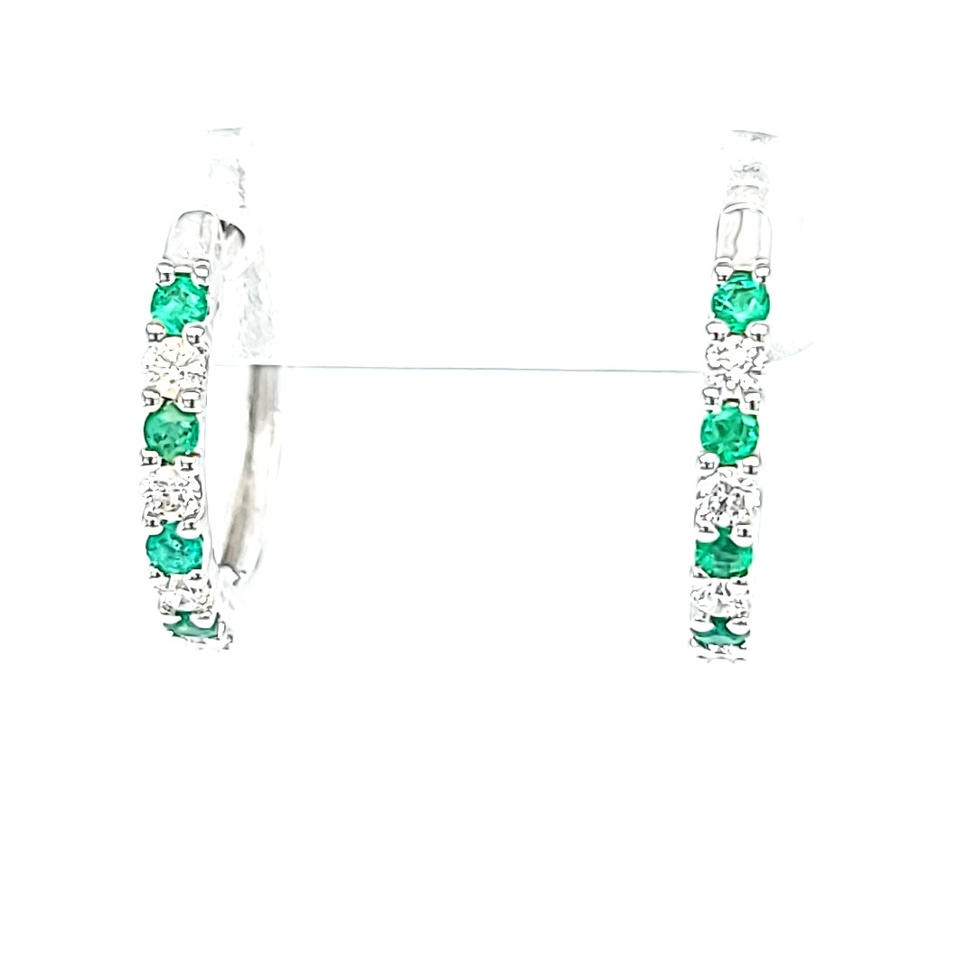 14KW Emerald and Diamond Hoop Earrings