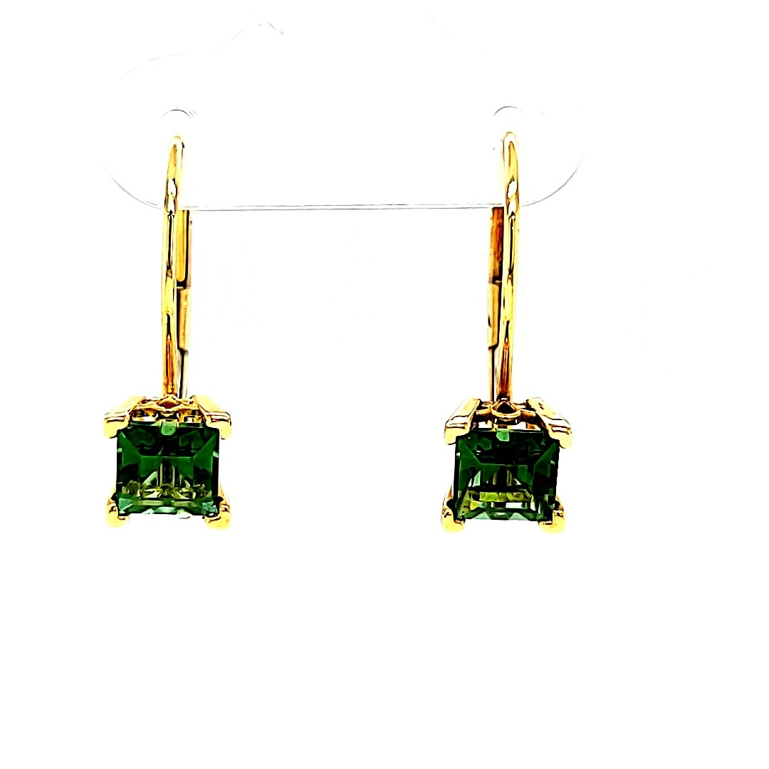 14KY Chrome Tourmaline Dangle Earrings