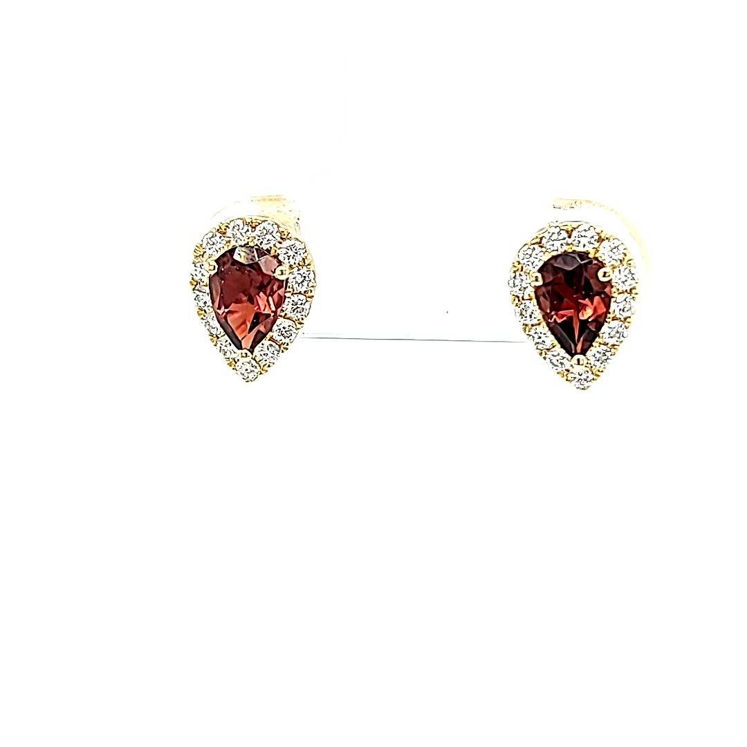14KY Pear Shaped Pink Tourmaline Halo Earrings