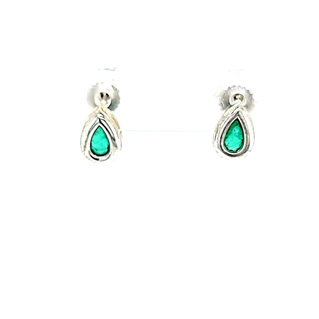 14KW Emerald Pear Shaped Stud Earrings