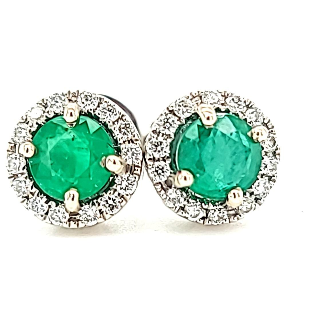 14KW 0.53Cttw Emerald Halo Stud Earrings
