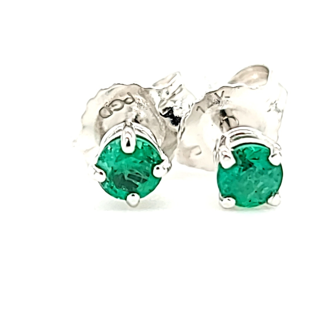 14KW 0.20Cttw Emerald Stud Earrings