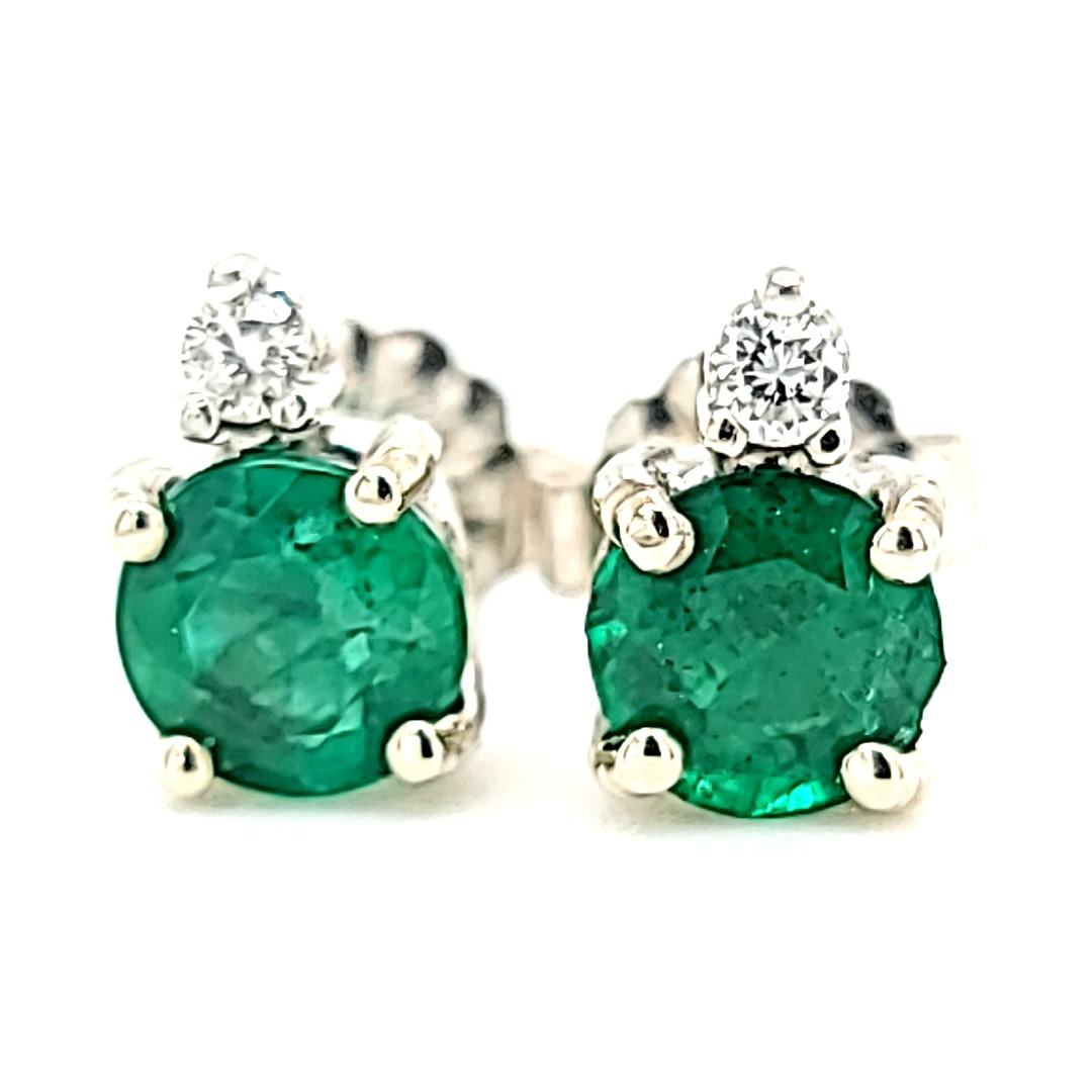 14KW 1.00Cttw Emerald Studs With Diamond Accents