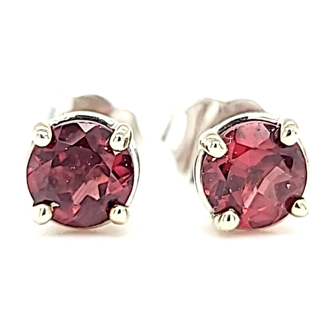 14KW Pink Tourmaline Stud Earrings 1.15CT