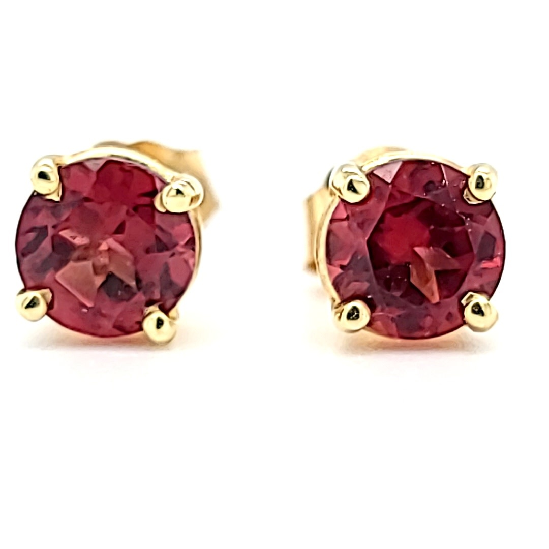 14KY Pink Tourmaline Stud Earrings 1.22CT