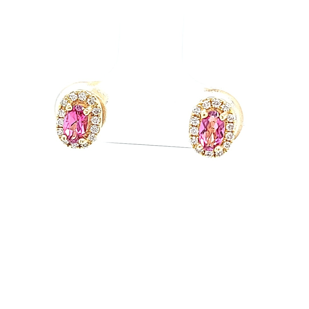 14KY Pink Topaz Stud Earrings With Diamond Halo