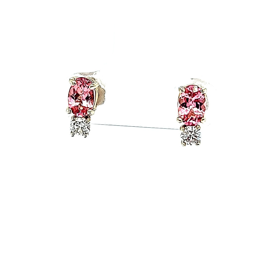 14KW .89Cttw Pink Tourmaline Stud Earrings