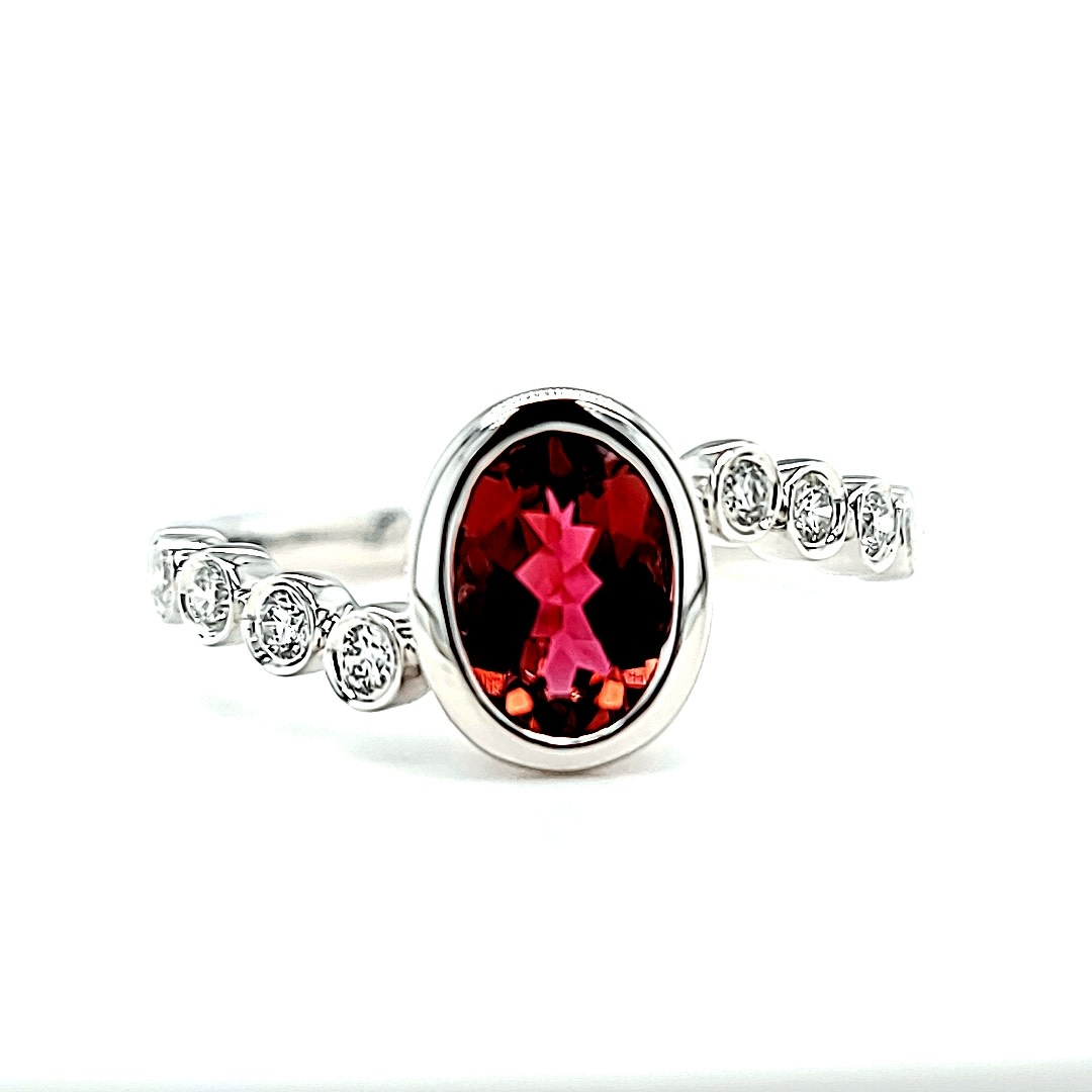14KW  0.78CT Pink Tourmaline Fashion Ring