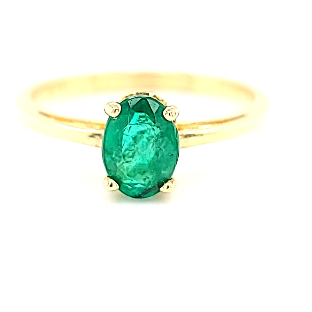 14KY 0.74CT AA Oval Emerald Ring