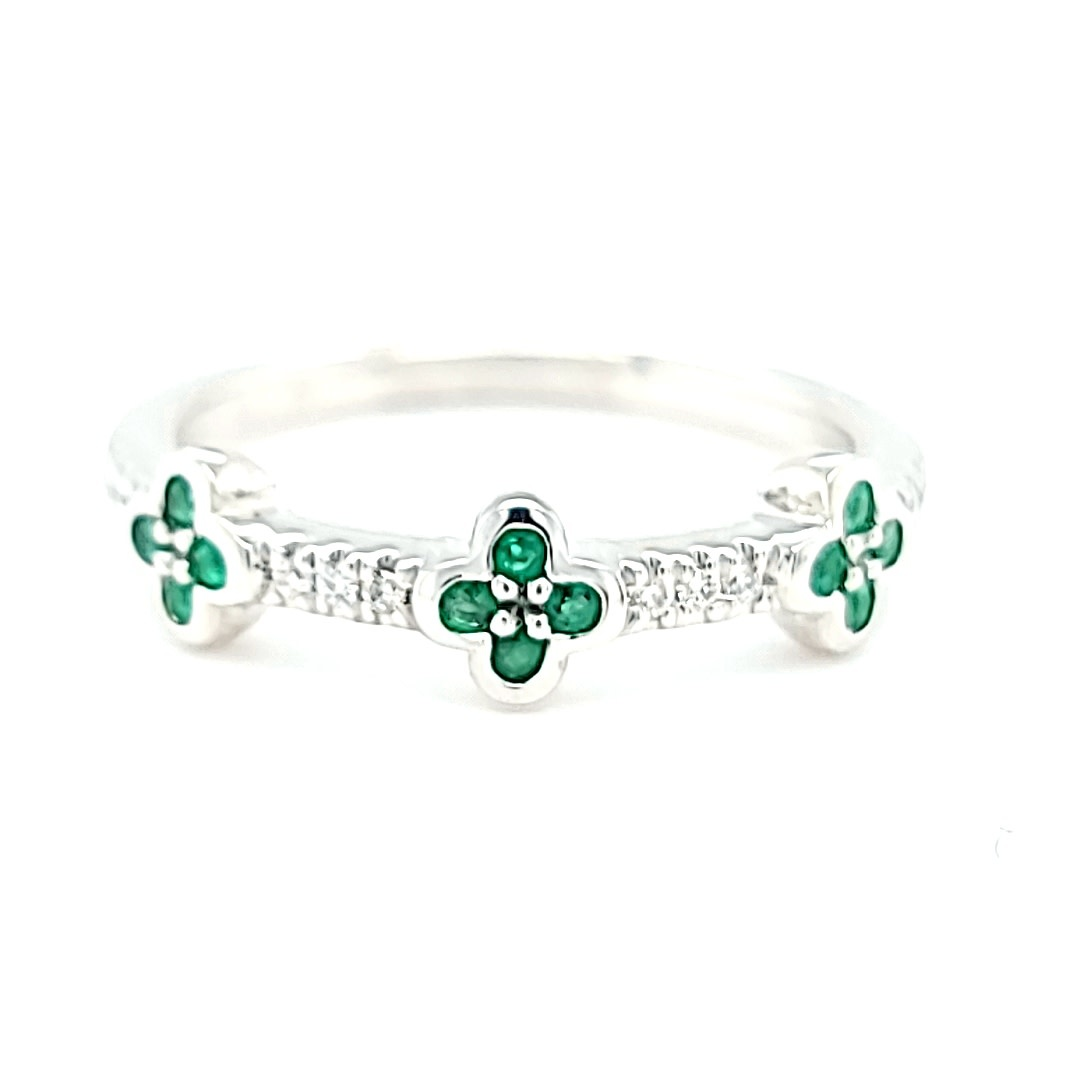 14KW Diamond and Emerald Clover Stackable Fashion Ring