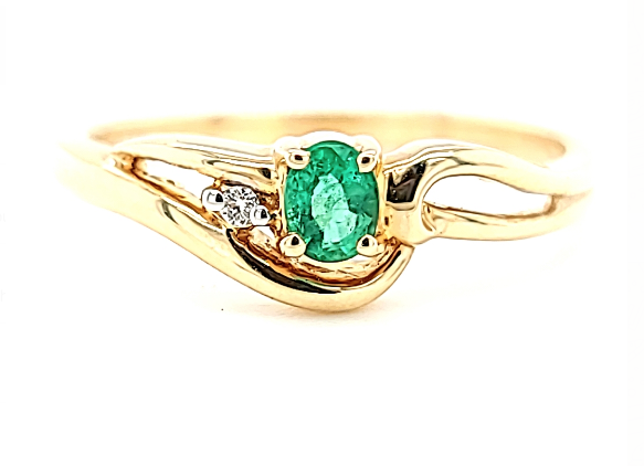 14KY Emerald and Diamond Fashion Ring