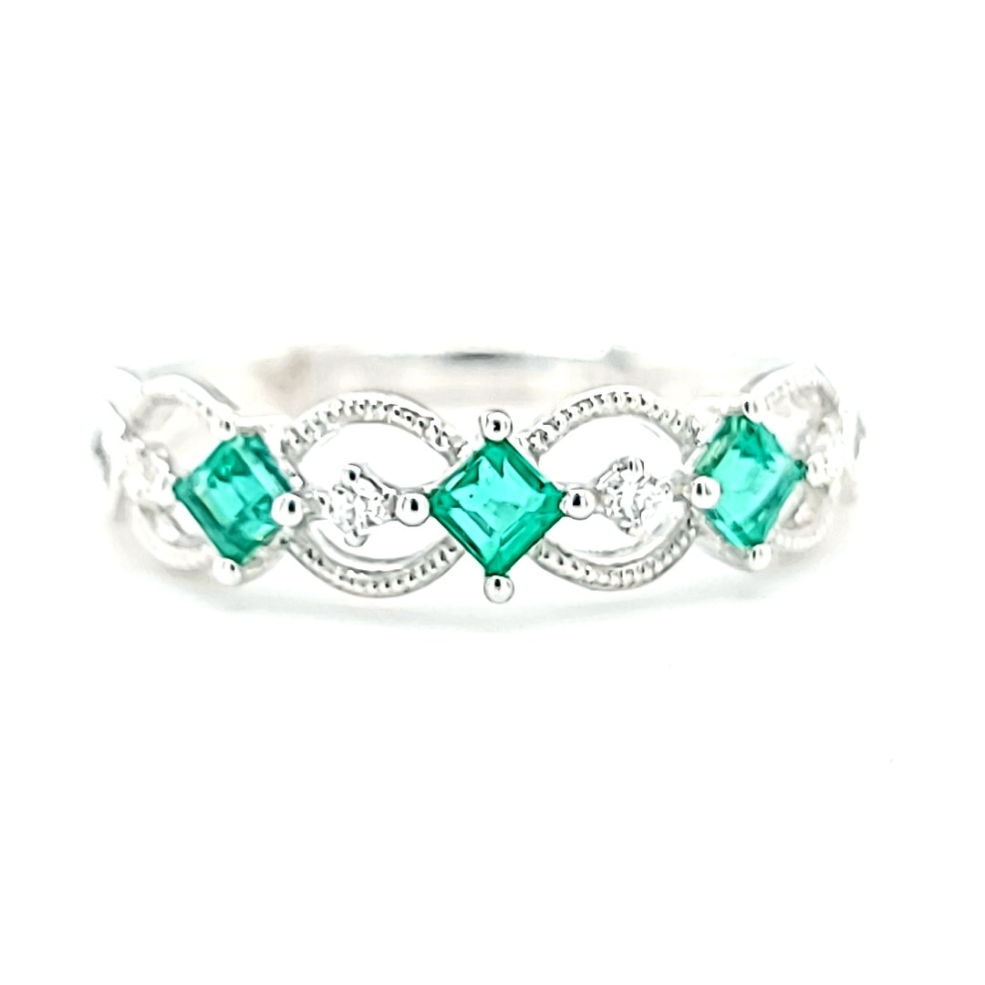 14KW Emerald and Diamond Fashion Ring