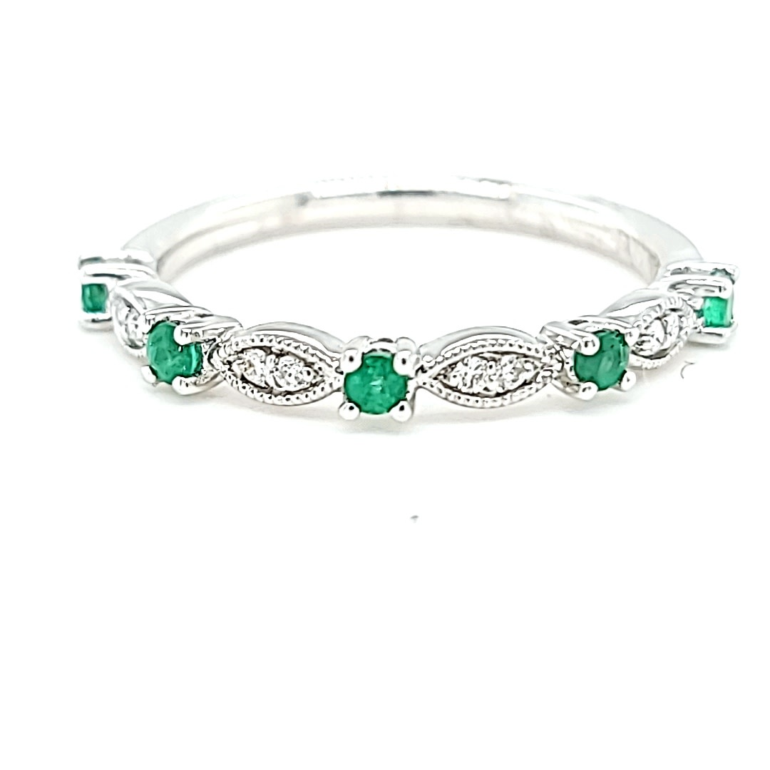 14KW Diamond and Emerald Stackable Fashion Ring