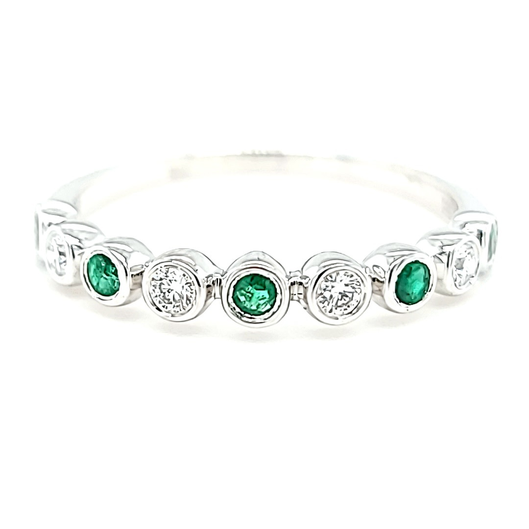 14KW Diamond and Emerald Stackable Band